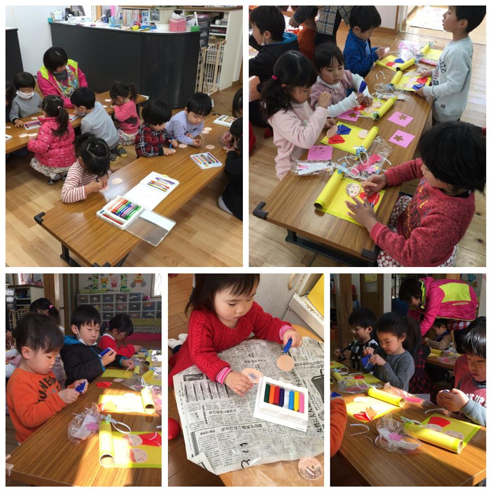 ☆雛祭り製作とバレンタインチョコすくい☆認可保育所(みつよし園)1